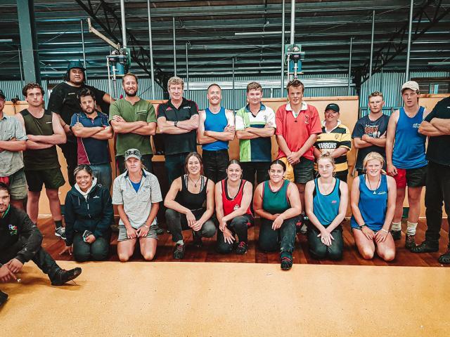 The 18 young people who took part in Elite Wool Industry Training's beginners' wool harvesting...