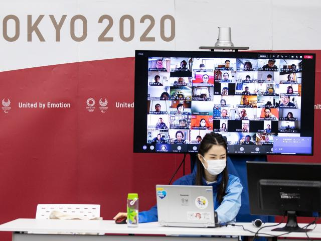 Volunteer training being done online at the Tokyo 2020 headquarters last week. PHOTO: GETTY IMAGES