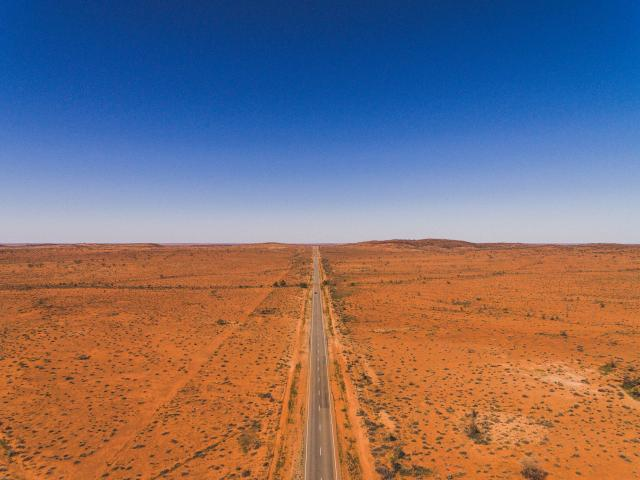 Drone footage of a highway from outside Broken Hill, New South Wales in the Australian Outback....