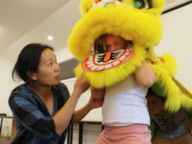 Tutor Lisa Hanson, of the Otago Southland Chinese Association's Dunedin lion dancers group,...
