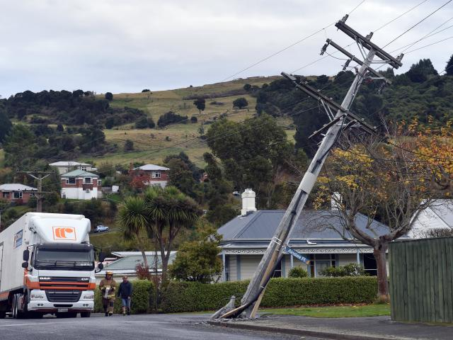 A Conroy Removals truck damaged a power pole at the intersection of Beechworth St and Ainslee Pl...