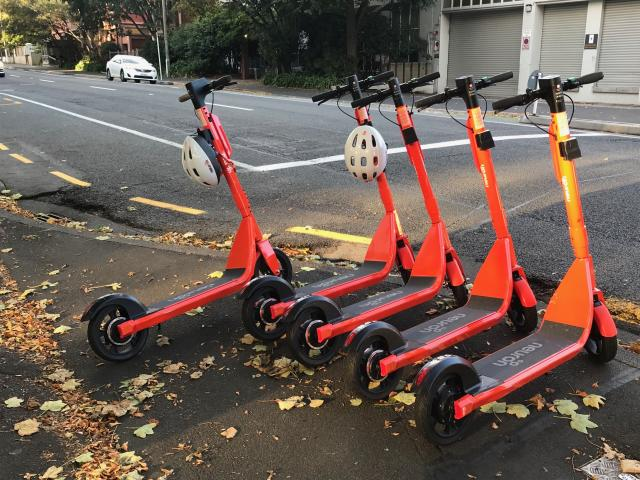 Only two of this row of five Neuron scooters, parked near the Otago Museum recently, still have...