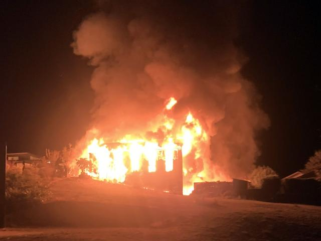 The fire broke out shortly before 4am on Otago Anniversary Day in the rear property in Totara...