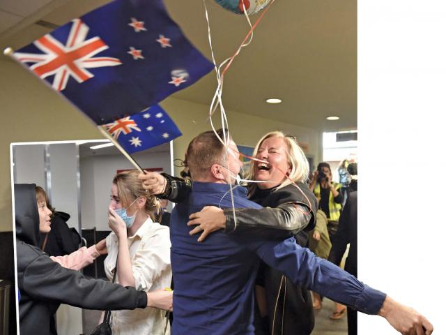 Melissa Jenner, of Queenstown, welcomes good friend Nate Dawes, of Sydney, at Queenstown Airport...