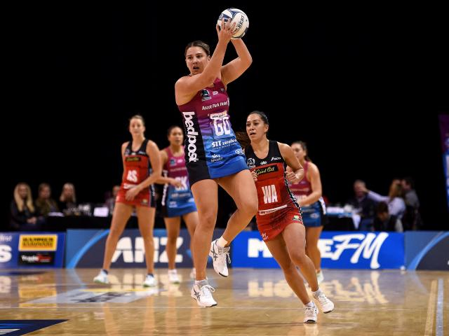 Te Huinga Reo Selby-Rickit, of the Southern Steel, has room to move during the round six ANZ...