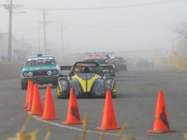Drivers in the Shayne Adams memorial sprints warm up their engines ahead of a big day's racing at...