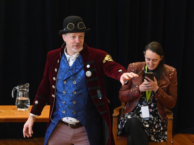 Authors Gareth Ward (left) and Steff Green gave talks at Otago Girls' High School yesterday,...