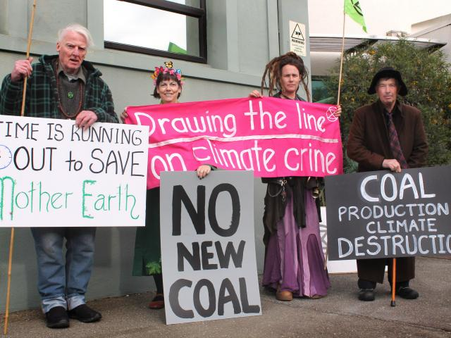 Extinction Rebellion Invercargill members (from left) Patrick Burrowes, Rayleen Carston, Heather...