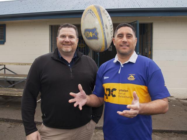 Lyttelton Rugby Club's Aaron Stevens and Joseph Tyro. Photo: Geoff Sloan 
