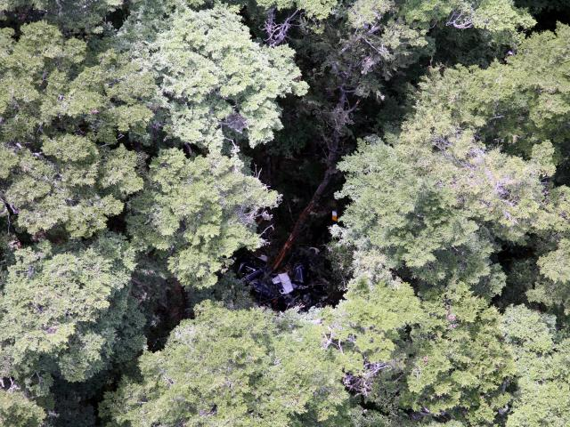 The wreckage of the Robinson that crashed near Queenstown in 2015. Photo: ODT files