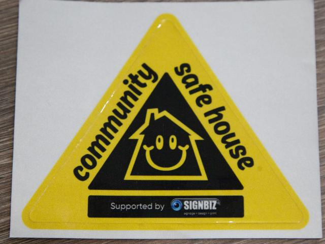 The Safe House Community Stickers are designed to help a person or child in distress. Photo:...