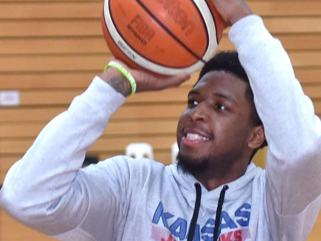 Otago Nuggets import Isaiah Moss (24) shoots at the Edgar Centre on Thursday after arriving in...