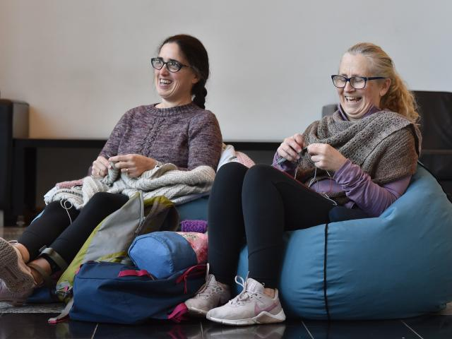 Dunedin knitters Rachel French (left) and Nicky Parsons were among dozens to attend a World Knit...