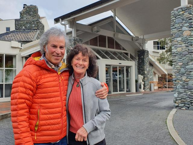Jef Desbecker, with wife Robina Bodle, argued granting a permit to take water from two Arrow...
