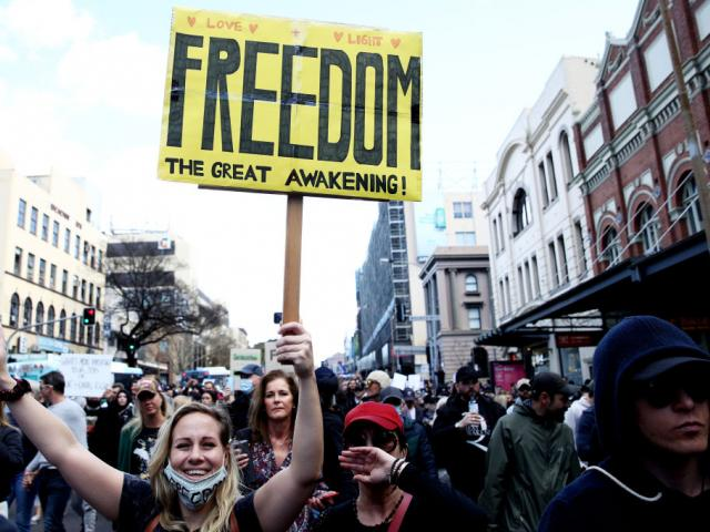 Anti-lockdown protesters in Sydney last weekend. Photo: Getty