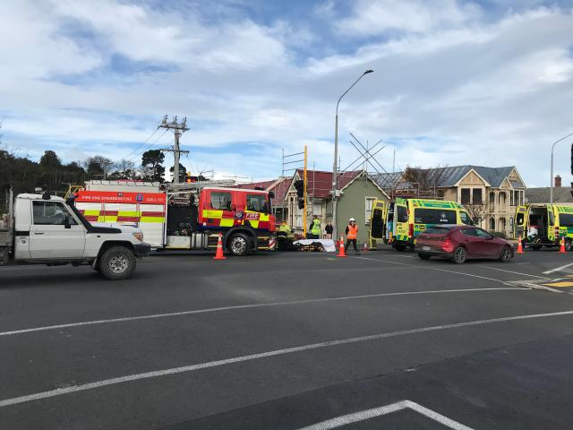 Emergency services at the scene of the crash at the intersection of Howe and Cumberland Sts....
