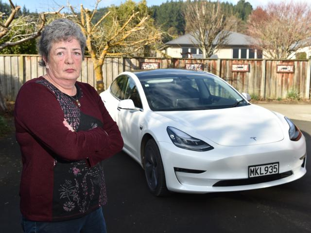 Mosgiel resident Jenny Kerr has had trouble getting repairs for her Tesla Model 3. PHOTO: GREGOR...