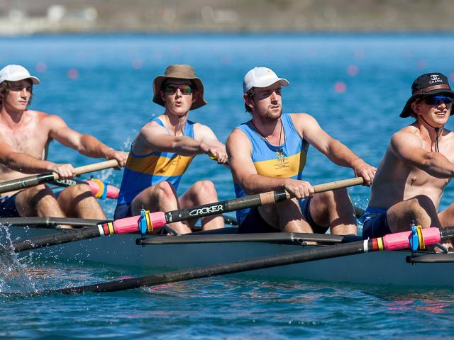University of Otago rowers sport various levels of sun protection during the Canterbury Rowing...
