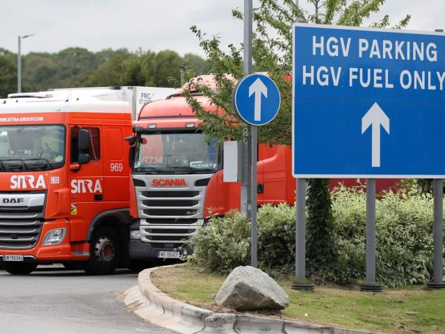 Trucks at an HGV parking area at Cobham services on the M25 motorway in England. Photo: Reuters