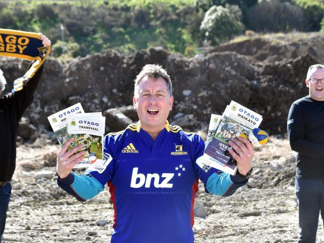 Standing on the former Carisbrook turf with sporting memorabilia to be housed at the future...