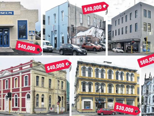 Top row, from left: Taimex Building, Middlemarch Museum, Playhouse Theatre, A&T Burt Ltd,...