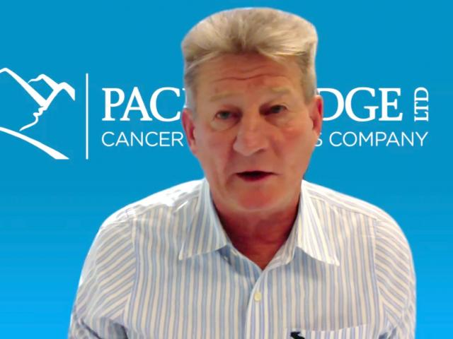 Pacific Edge chief executive David Darling addresses investors on a Zoom call yesterday morning,...