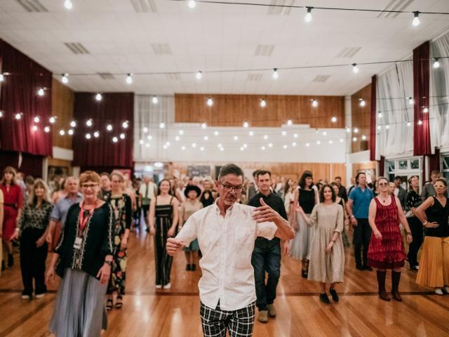 Caroline Plummer Fellowship in Community Dance fellow Michael Parmenter leads a dance.  PHOTOS:...