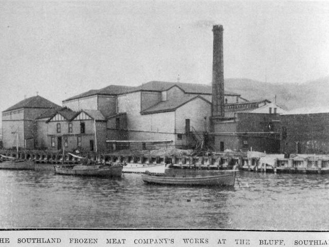 The Southland Frozen Meat Co's freezing works, Bluff. — Otago Witness, 5.7.1921