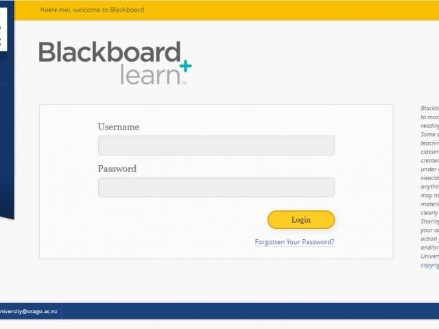 The login page for Blackboard. Photo: Supplied