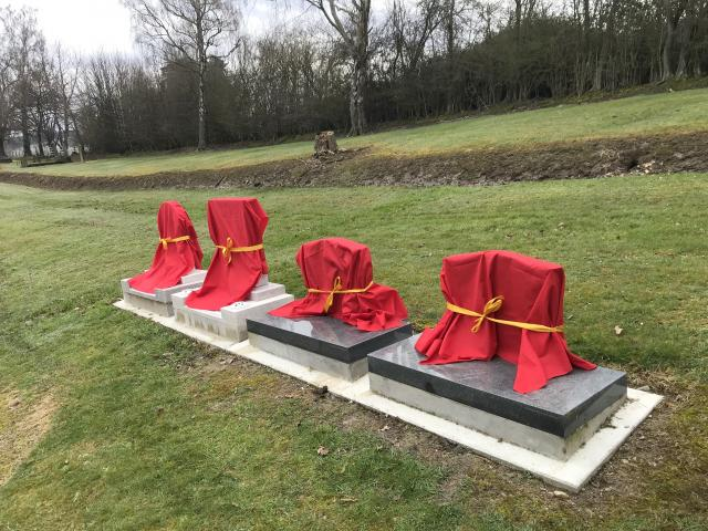 Restored tombstones at the Lawrence Chinese Cemetery await their unveiling, which will take place...