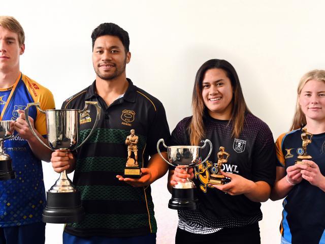 Fab four ... Dunedin club rugby award winners Cameron Millar, Ray Nu'u, Kilisitina Moata'ane and...