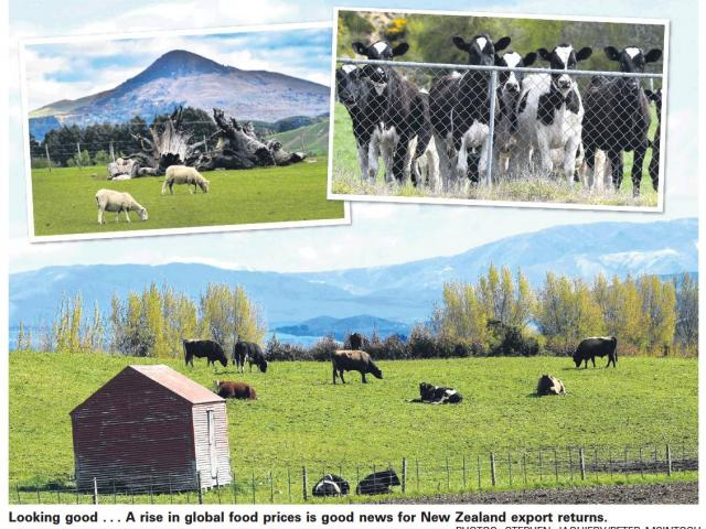 A rise in global food prices is good news for New Zealand export returns.  Photos: Stephen...