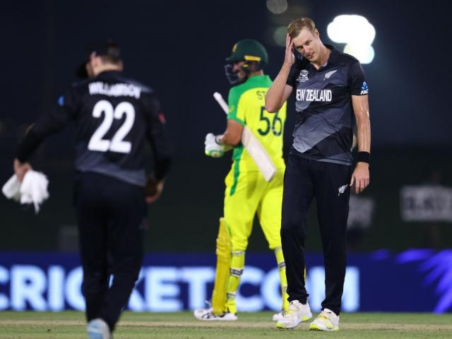 Black Cap Kyle Jamieson shows his frustration after conceding the winning runs scored by...