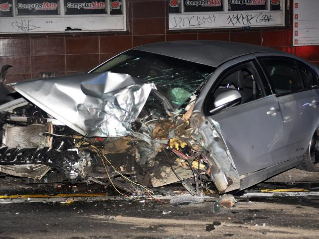 Shae Gosney's vehicle was written off in the high-speed crash in Princes St. PHOTO: STEPHEN JAQUIERY