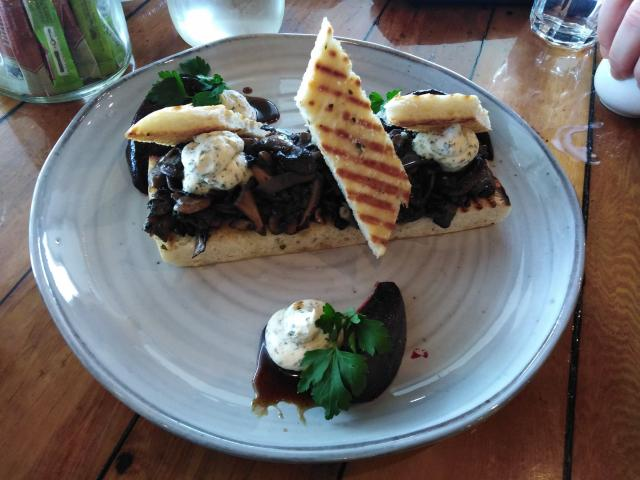 Faigan's Cafe & Store's sauteed organic mushroom and thyme on Turkish bread. PHOTO: REBECCA FOX