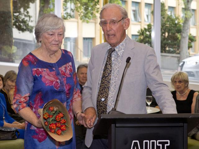 "Clare Matheson, a survivor of the ""Unfortunate Experiment"", with Dr Ron Jones at the launch of his book. Photo: supplied"
