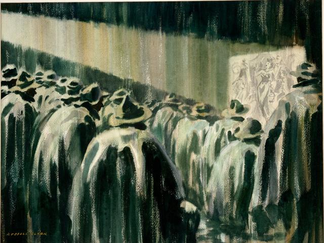 Movies in the rain, one of Russell Clark's best-known paintings from the Solomon Islands. Photo:...