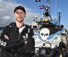 First mate James Brook, from Australia, on Steve Irwin yesterday. Photos: Gregor Richardson.