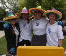 (from left) Mikayla Scarlet (17), Nelle Loper (14), teacher Bronwyn Gillies and classmate Emma...