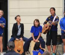 Papakaio School band Georgie McCarthy (12), left, on ukelele, Papakaio musical director Monique...