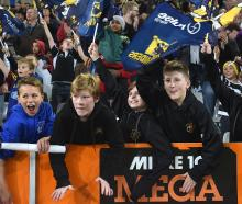 Young Highlanders supporters at the game against the Stormers  at Forsyth Barr Stadium last night...