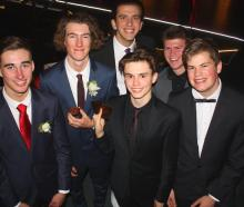 (from left) Jack Williams (17), Cory O'Regan (17), Fergus Brebner (back, 17) Daniel Regal (17) ,...