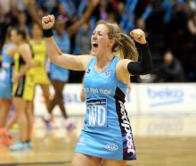 Southern Steel captain Wendy Frew celebrates after the netball team completed its 16-game unbeaten season. Photos: Michael Bradley