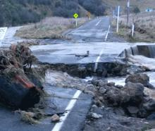 Oamaru's damaged Old Mill Rd on Saturday afternoon. Photos: Shannon Gillies/Waitaki District...