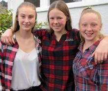 Paige Wise, of Roxburgh East, Taylor McArley, of Dumbarton and Emily Darling, of Ettrick, all 15