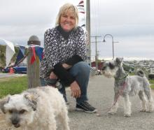 Sue Tisdall, of Palmerston, with Mouse (left) and Lucy.
