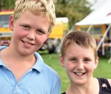 Harry Graham (12), of Middlemarch, and Jed Tisdall (11), of Macraes Flat.