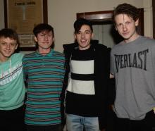 Jacob Woodcock (16), of Dunedin, Sam Pitchers (16), of Dunedin, Josh Glennie (16), of Mosgiel, and Jacob Roos (15), of Dunedin.