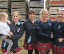 Dani Watson (3), Lauren Callander, Hayley Hunter, Genna Darling and Rebecca Favel, all of Roxburgh, at the Kilt Canter.