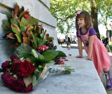 Bella-Rose Milmine-Cassidy (5), of Dunedin, looks at a wreath placed on the Cenotaph in Queens...